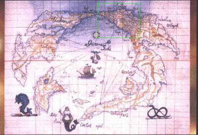 Карта Красного Мира. Зелёным контуром выделены примерные границы Барьера.